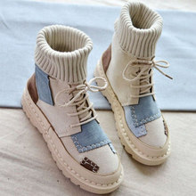 Autumn Winter Boots Suede Canvas Shoes Women Boots Patchwork High-top Shoes Lace-Up Socks Boots Comfortable Casual Women Shoes(China)