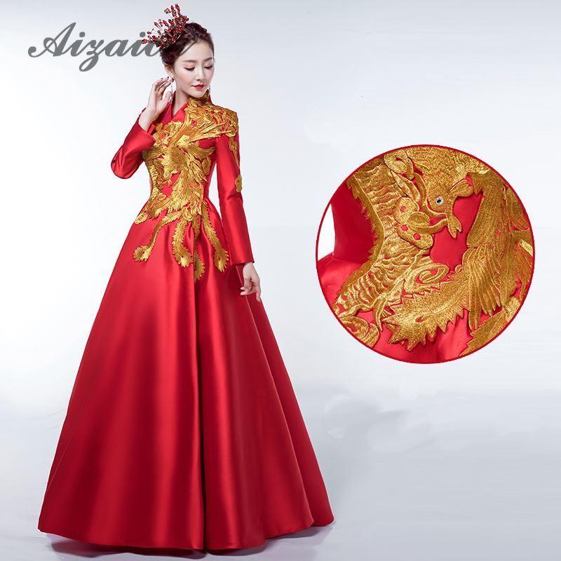 Broderie rouge Phoenix femmes Cheongsam robe robe de soirée traditionnelle mariée Traditions mariage Qipao Style Oriental robes
