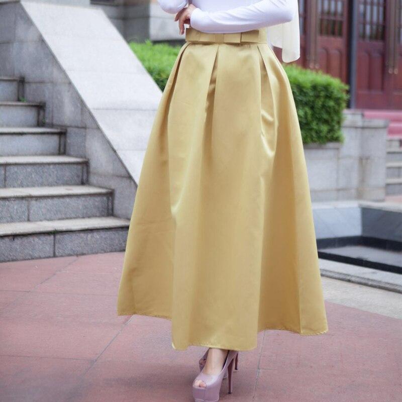 Plus Size Skirts Faldas Mujer Moda 19 Abaya Dubai Turkish Long Pleated Maxi High Waist Skirt Women Jupe Longue Femme Skirts 8