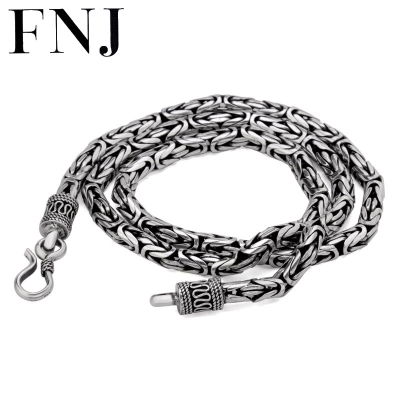 925 Sterling Silver Necklace Men Jewelry Big Statment 4mm 5mm 8MM 100% S925 Solid Silver Chain Necklaces Male Jewelry Making цена 2017