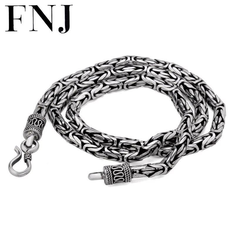 925 collier en argent Sterling hommes bijoux grand Statment 4mm 5mm 8 MM 100% S925 solide argent chaîne colliers mâle fabrication de bijoux
