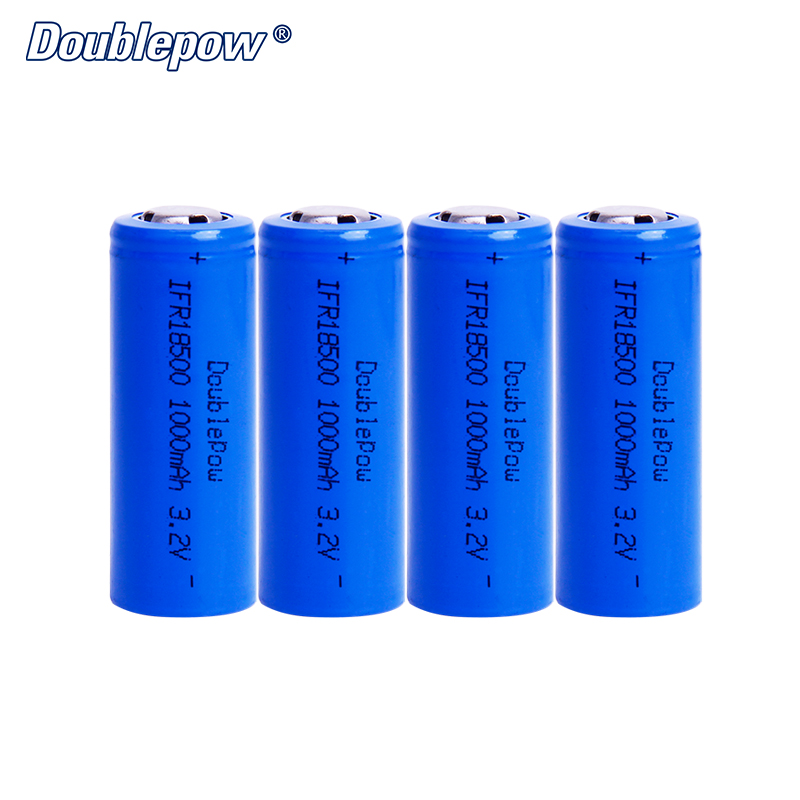4pcs/Lot FREE SHIPPING Hot Sale Doublepow DP-18500 1000mA 3.2V LiFePO4 rechargeable battery 18500 HIGH CAPACITY FOR FLASHLIGHT