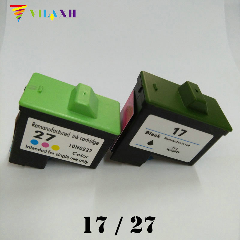 vilaxh 17 27 Ink Cartridge For Lexmark 17 27 for Z605 Z615 X1100 X1150 X1270 i3 Z13 Z23 Z34 Z515 Z517 Z600 Z603 X2250 Printer 1pk for lexmark29 ink cartridge tri color for lexmark 29 for lexmark 18c1529 for lexmark z845
