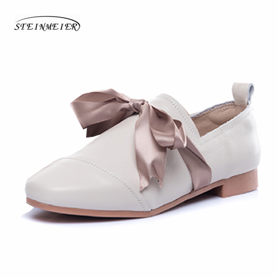Women flat loafers shoes handmade bow beige vintage Retro leather square toe casual sweet comfortable loafer oxford shoes imc vintage women flat shoes white us4 eur35 length 22 5cm