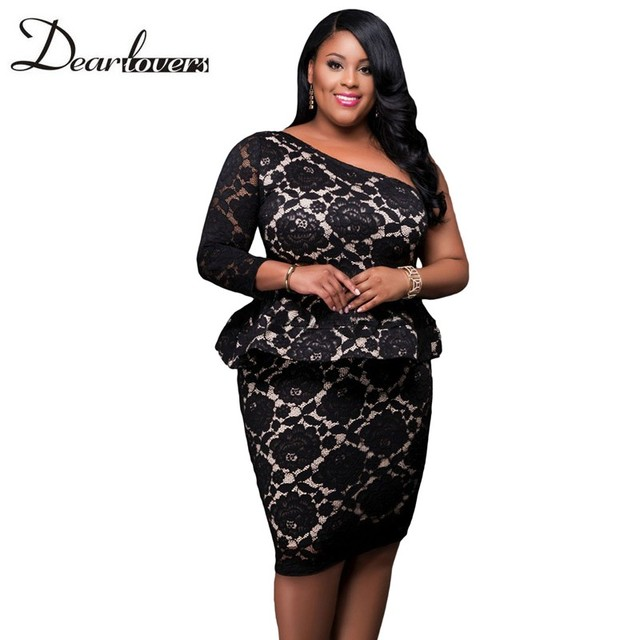 Dear Lover Women Spring 2017 Peplum Party Dresses Plus Size Black