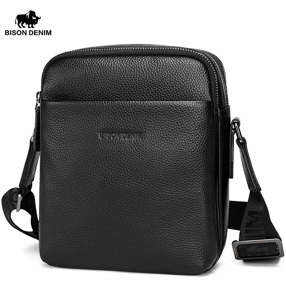 BISON DENIM Bag Genuine Leather Men Crossbody Bag Business Ipad Shoulder Messenger Bag Small Men Leather bag N2763-1B