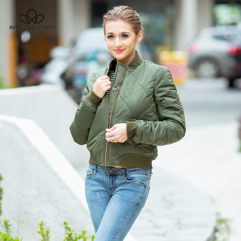 HTB1T.Q1kvBNTKJjy0Fdq6APpVXaX Bella Philosophy autumn winter quilting bomber jacket women coat zipper long sleeve winter jacket cotton-padded pink outwears