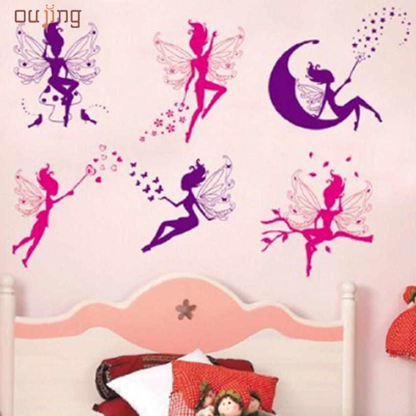 Oujing nuevos mariposa hada de las flores pegatinas dormitorio salón paredes fel
