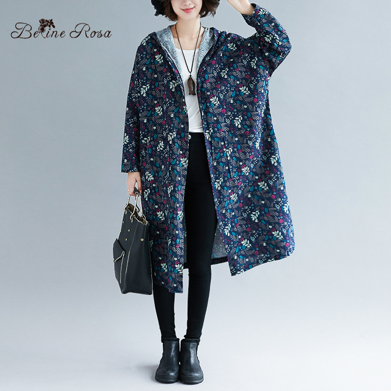 BelineRosa 2019 Floral Printed Long Sleeve   Trench   Coats Big Sizes Women Clothing Hooded Collar Large Size Autumn Coat BSDM0223