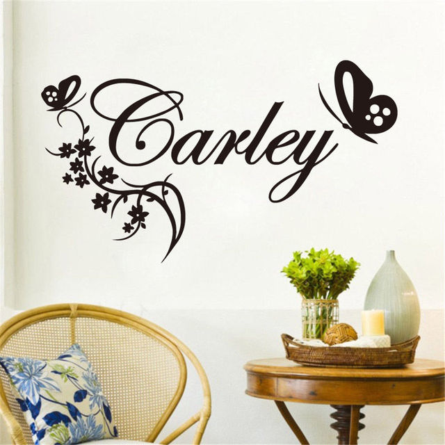 Personalized Name Wall Sticker With Butterflies