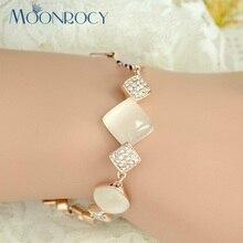 Moonrocy Бесплатная доставка Мода розовое золото Цвет опал браслет мода площади ювелирные изделия оптом любителей для женщин подарок
