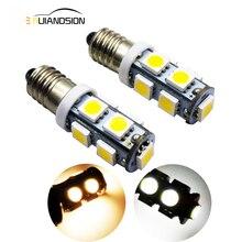 2X E10 5050 9smd led bulb lights AC/DC12v 1W mini Indicator Bulbs Car Interior Lighting Auto instrument lamps Xenon white 4300K