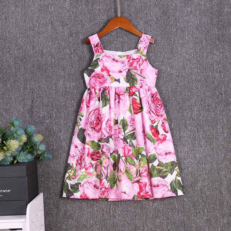 children cotton clothes family look outfits mother and daughter matching dresses mommy girls clothing Summer beach braces dress фен braun satin hair 7 hd730