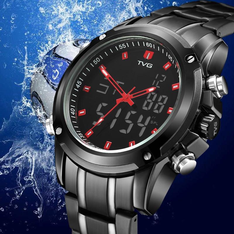 TVG Luxus Marke 2019 Mode Herren Voller Stahl Sport Uhr Digital Quarz Analog Militär Uhr Männer Wasserdichte LED Armbanduhr