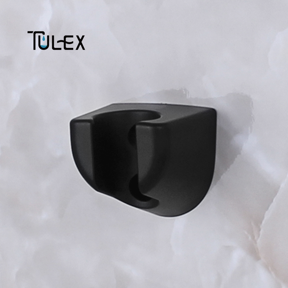 TULEX Shower Head Holder Bracket  Bathroom Use Standard Size Bathroom Accessories Matt Black ABS Plastic