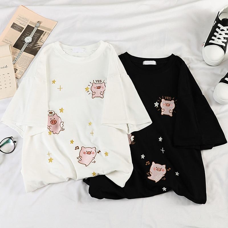 Korean Kawaii Cartoon Embroidery Short Sleeve T-shirts Women Summer Casual T Shirt Harajuku 90s Girl Tshirt White Black Tops Tee