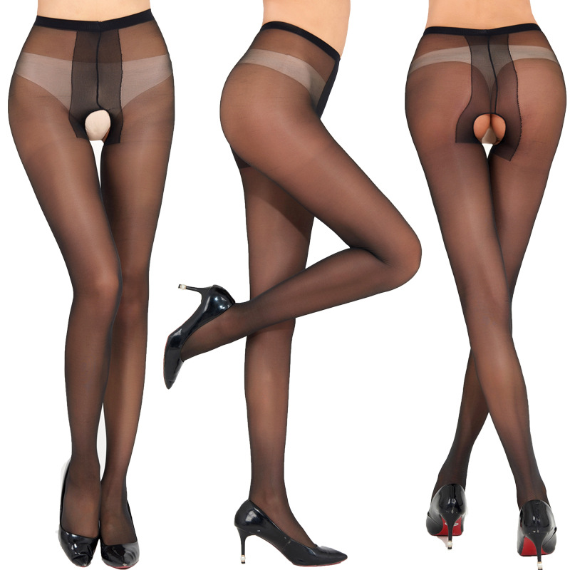 Woman Sexy Open Crotch Tights Women Crotchless Tights Stretchy Sheer Pantyhose Black Collant Ouvert Femme Strumpfhose Stocking