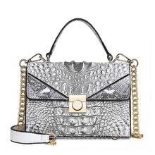 Women Crocodile Pattern Stitching Shoulder Bag (7 colors)