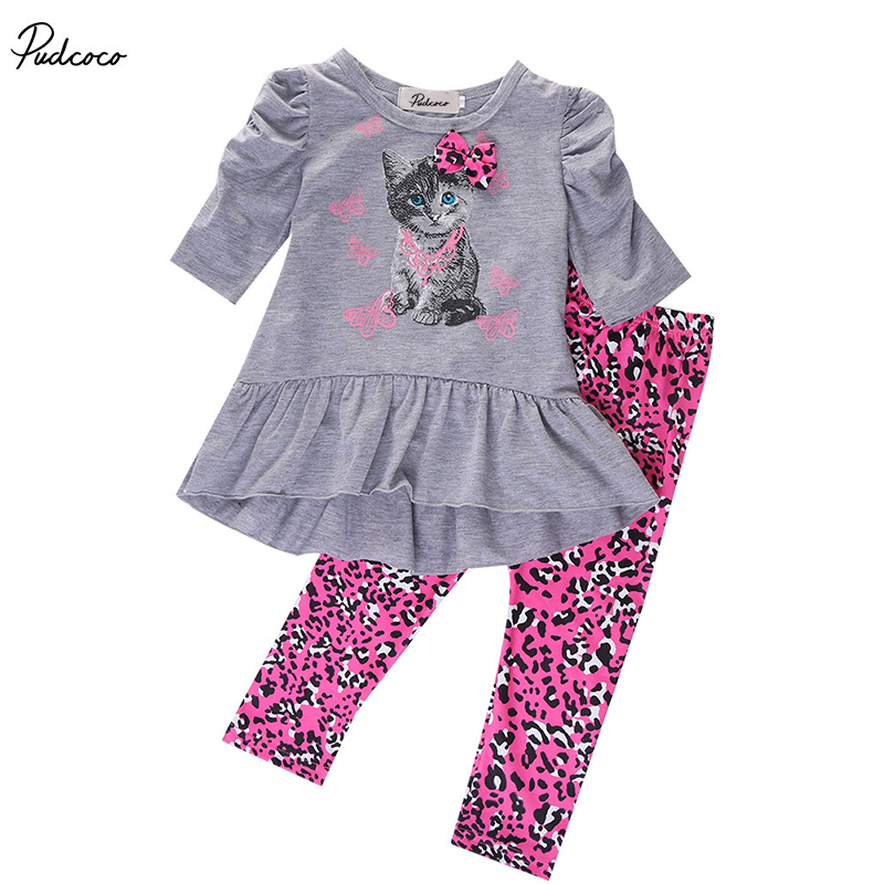 2017 new year hello kitty set  Kids Baby Girls clothes clothing sets Cat Printed T-shirt Tops Dress+Leopard Pants Outfits Set new baby girls t shirt brand round neck kids clothes tshirt printed cute red rabbit pattern next clothing style for 18m 6t