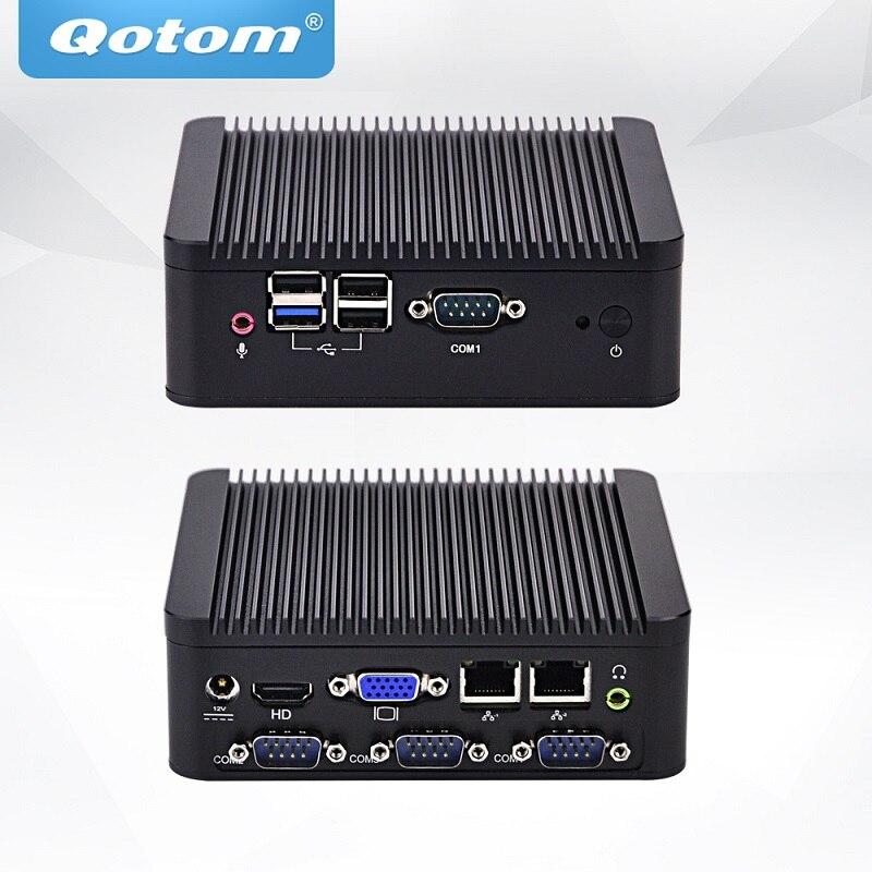 QOTOM Mini ordinateur de bureau Q190P avec processeur Bay trail j1900, Quad Core Mini PC double NICQOTOM Mini ordinateur de bureau Q190P avec processeur Bay trail j1900, Quad Core Mini PC double NIC