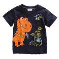 Blusa Escola Dinossauro Dos Desenhos Animados Impressão Crianças Roupas de Verão Meninos T-shirt, Roupa dos miúdos Do Bebê Meninos Camisetas Casuais T Shirt 2-6 T