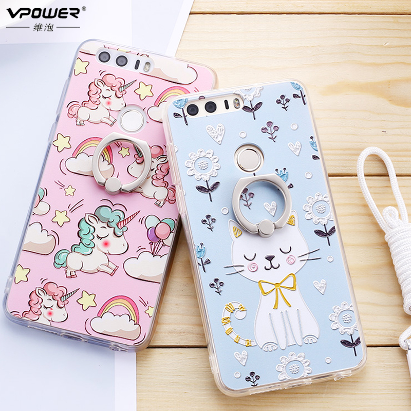 For Huawei Honor 8 Case TPU + PC Holder Cases Vpower 3d Relief Paint holder back soft Cover for huawei honor 8 + Glass Film