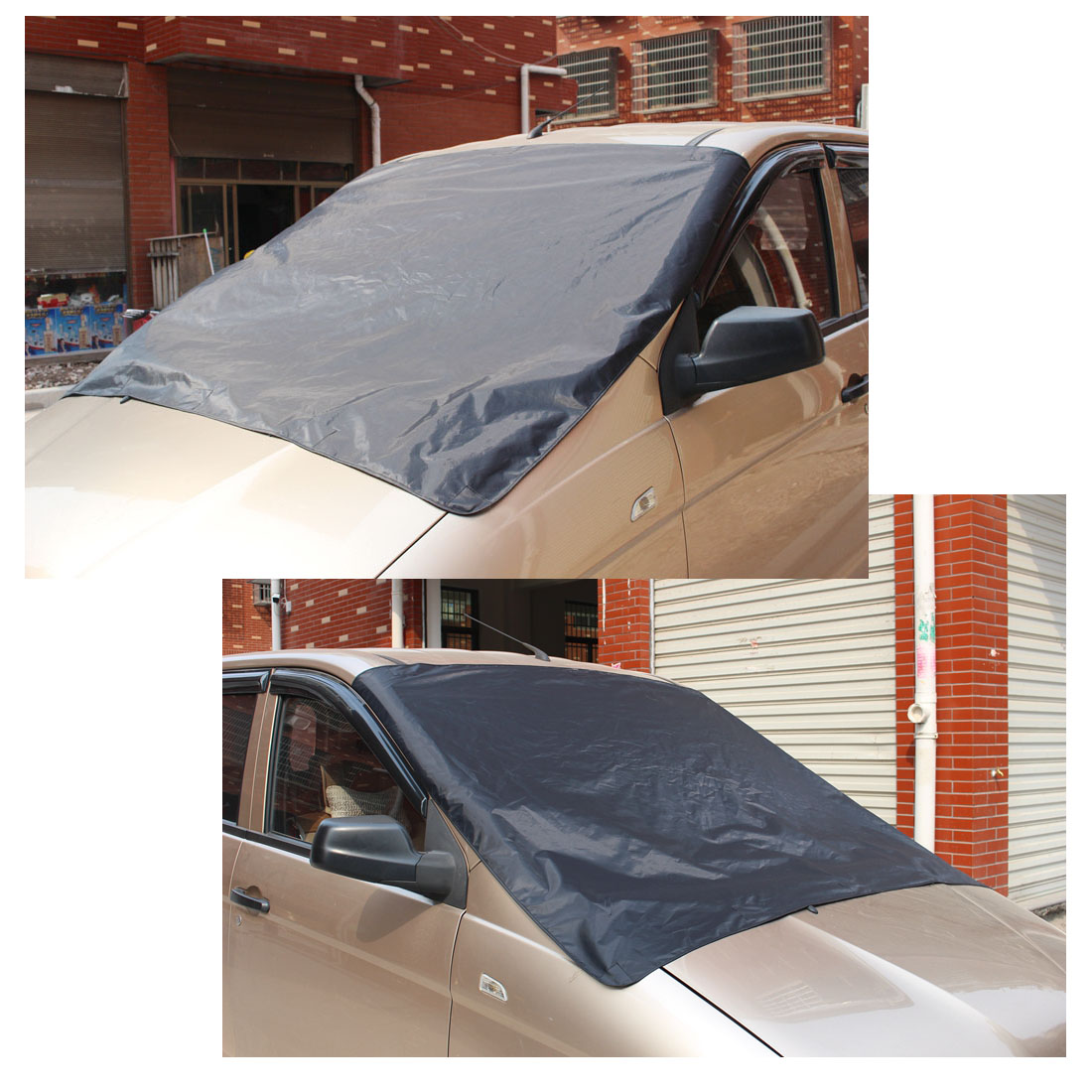 Dewtreetali Car Snow Ice Frost Freeze Protector Sun Shield Magnet Windshield Cover Black Silver For VW /BMW /Honda /Toyota