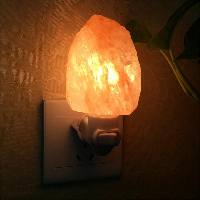 Mini Himalayan Salt Night Light Cylinder Shape Wall Lamp Bedside Bedroom Home Decor Novelty Lighting bedroom light