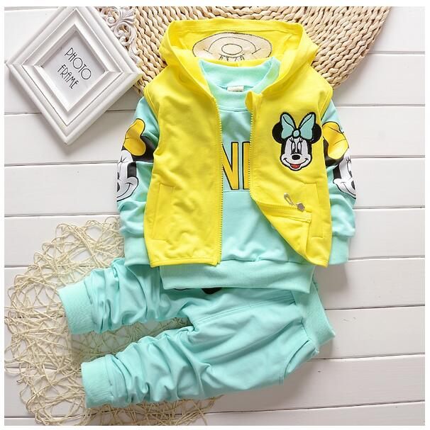 Girls Fashion Tracksuits 2017 Autumn Hooded Minnie Mouse T-Shirt+Pant Outfits Kids Sports Suit 3PCS Sets CHildrens Clothing set