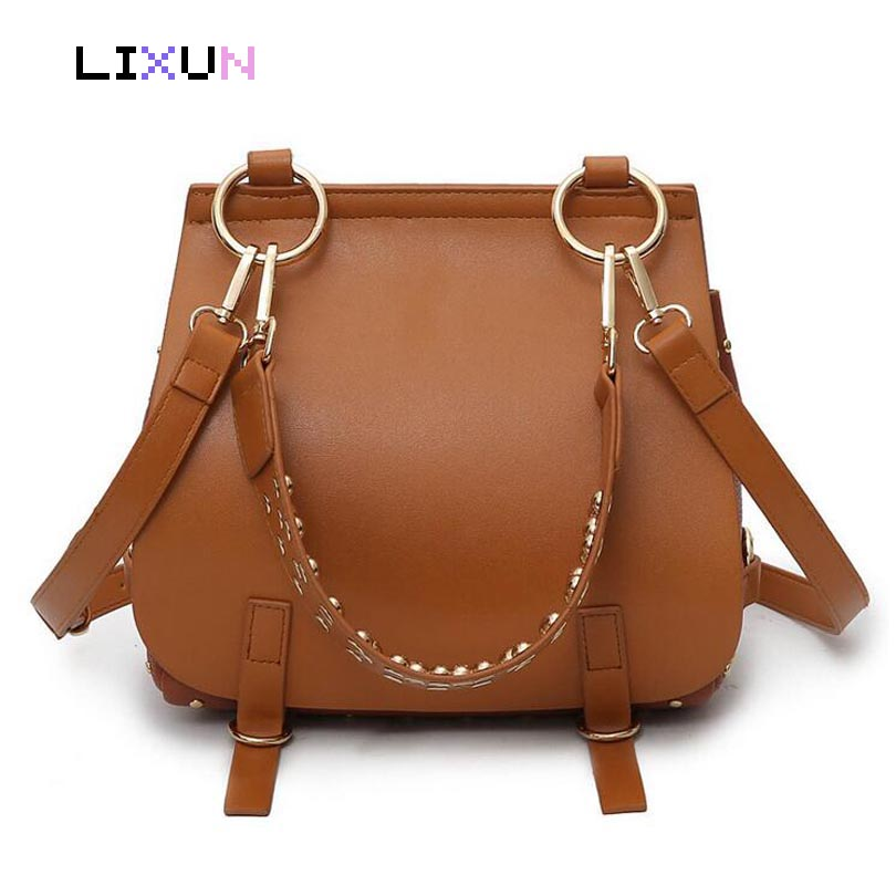 Luxury Handbags Women Rivet Bags Designer Brand Famous Shoulder Bag Female Saddle Tote Bag Leather Brown Crossbody Bags Bolsa luxury handbags fashion tassel satchel bag women bags designer brand famous tote bag female pu leather rivet shoulder bag bolsas