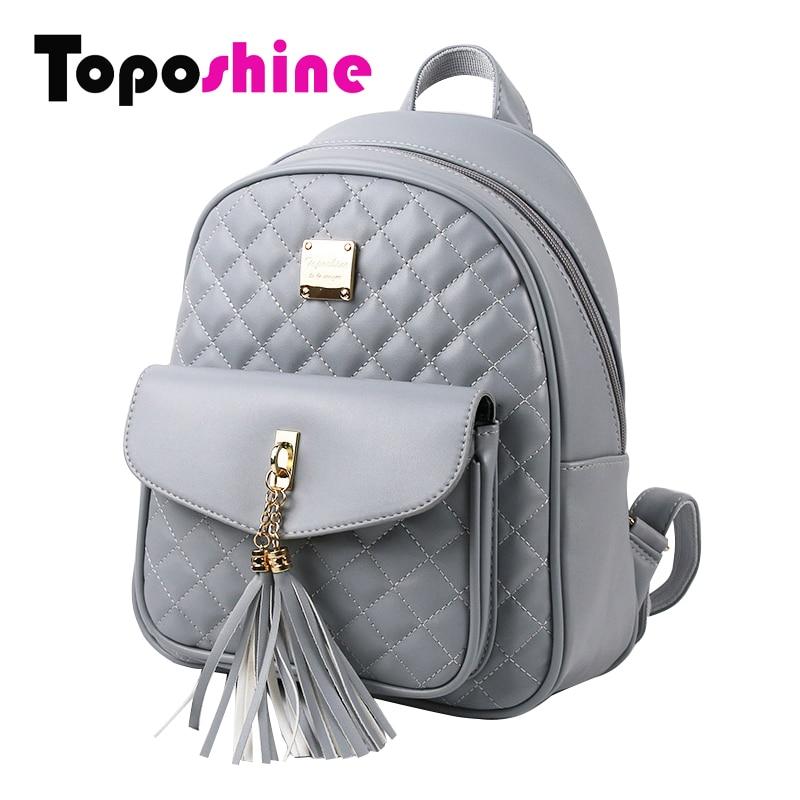 Toposhine 2017 Fashion Women Backpacks Black PU Leather Lady Backpacks Girls Backpacks Popular Cute Ladies School Bags 1743