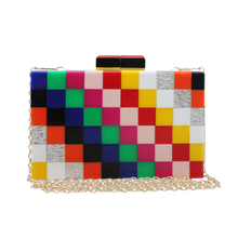 2017 neue stil persönlichkeit mini reine block farbe acryl tasche schulter umhängetasche hand kleine quadratische tasche