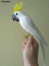 about 32cm artificial parrot white cockatoo bird foam&feathers handicraft home garden decoration gift p2303