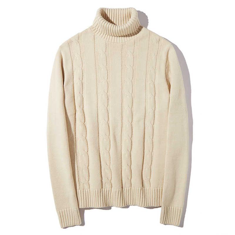 2019 セーター男性女性厚いケーブルニットタートルネック男性プルオーバー Swaeters 秋冬高品質カップルセーター男性女性