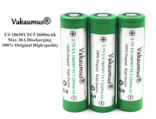 Vakaumus 4PCS 100% Original 3.7V US18650 VTC5 2600mAh 30A Discharging Rechargeable Batteries For Sony 18650 Battery/E-Cigarette