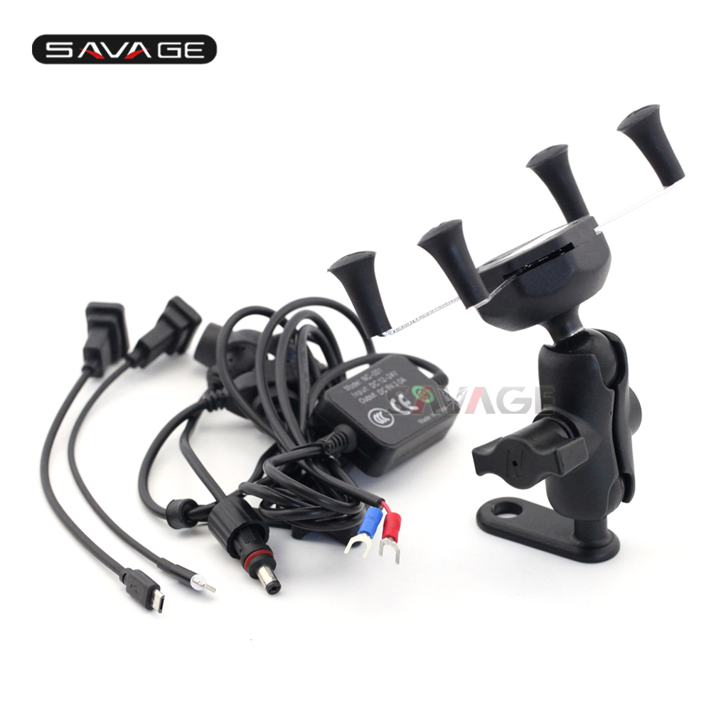 GPS Navigation Mount Bracket Mobile Phone Holder with USB Charger For YAMAHA XT 660R/660X/660Z/1200Z V-MAX1700 XT660 XT1200Z yamaha mg10xu usb