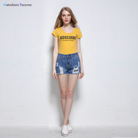 2018 New Arrival Summer Style Women Denim Shorts Mid Waist Jeans Casual Nets Stitching Broad Leg