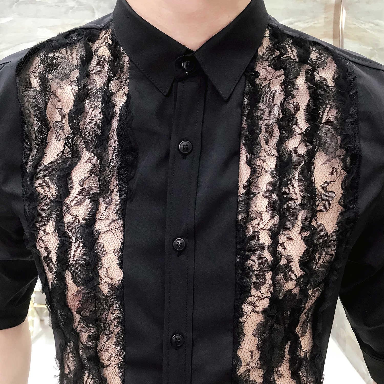 Летняя Новинка 2019, Корейская версия тонкой рубашки для волос, Стильный комбинезон с пятиточечным рукавом, кружевная Сексуальная рубашка с рукавами