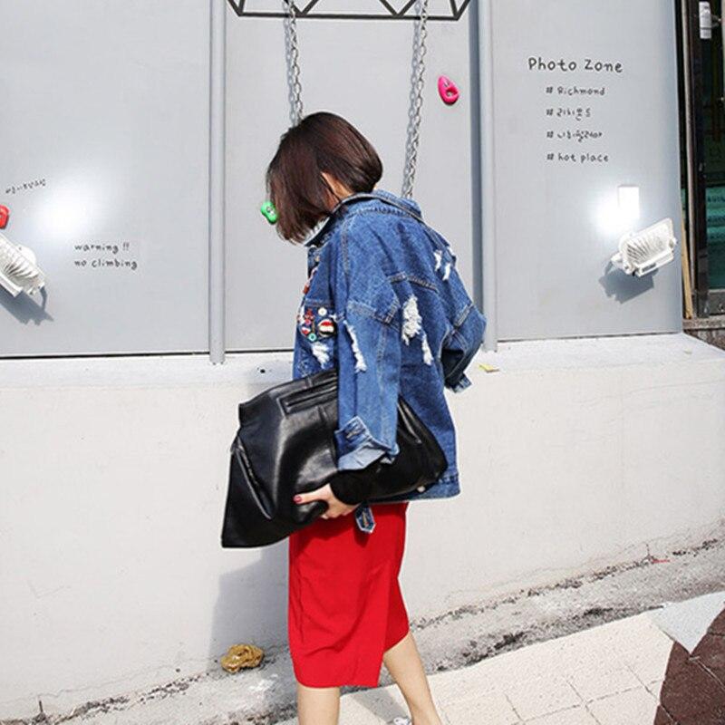 RUGOD 2018 Vintage Fashion Wash Water Denim Jacket badge Loose BF Denim Coat Hole Female Outerwear Plus Size Chaquetas Mujer 3