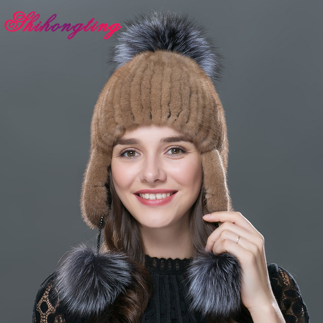bcef93f5ce6 Elegant Fur Beanies Cap 2016 New Arrival Knit Hats Skullies Real Mink Warm  Ear Protector With