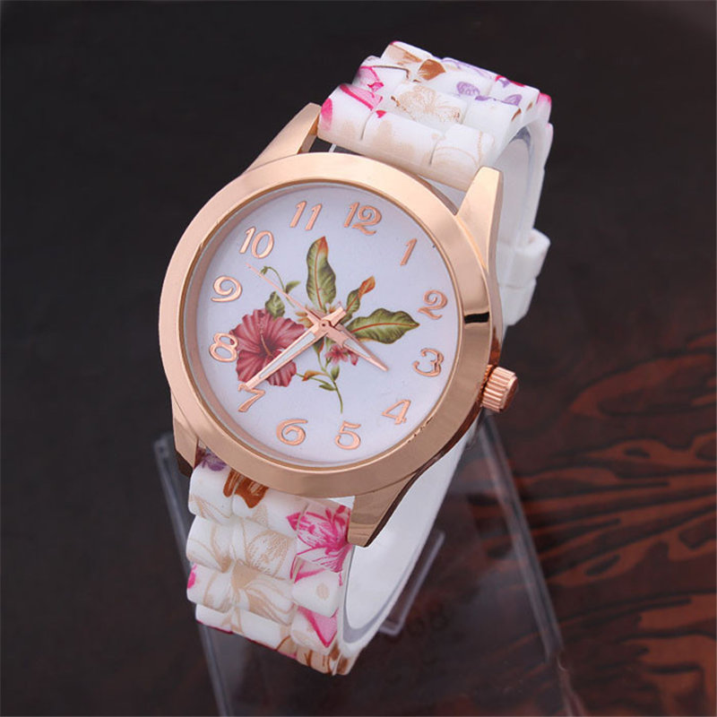 Hot Sale Relogio Feminino Erkek Kol Saati Reloj Mujer Wrist Watch Women Flower Print Silicone Quartz Watch Female Watches Clock