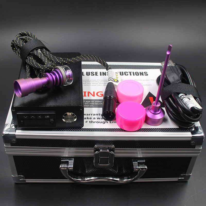 Wholesale 5PC lot Black Dnail ENail Dab Kit Electric Nail Dab with Heater Coil Pink Color Titanium Nail Carb Cap vs Quartz Nail in Tobacco Pipes Accessories from Home Garden