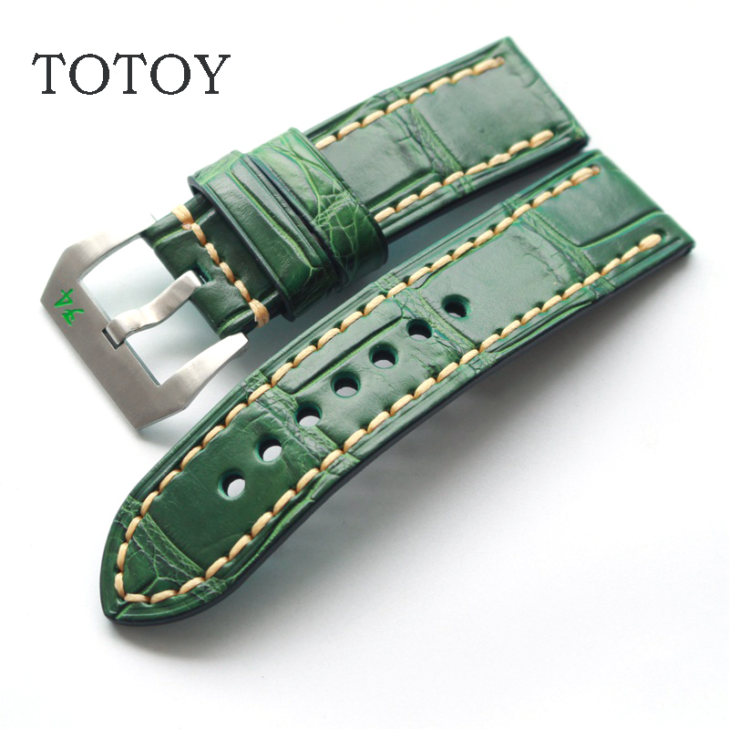 TOTOY handmade crocodile skin tender green 22MM fit PAM Seiko Vacheron Constantin Casio Swiss watch leather strap women crocodile leather watch strap for vacheron constantin melisa longines men genuine leather bracelet watchband montre
