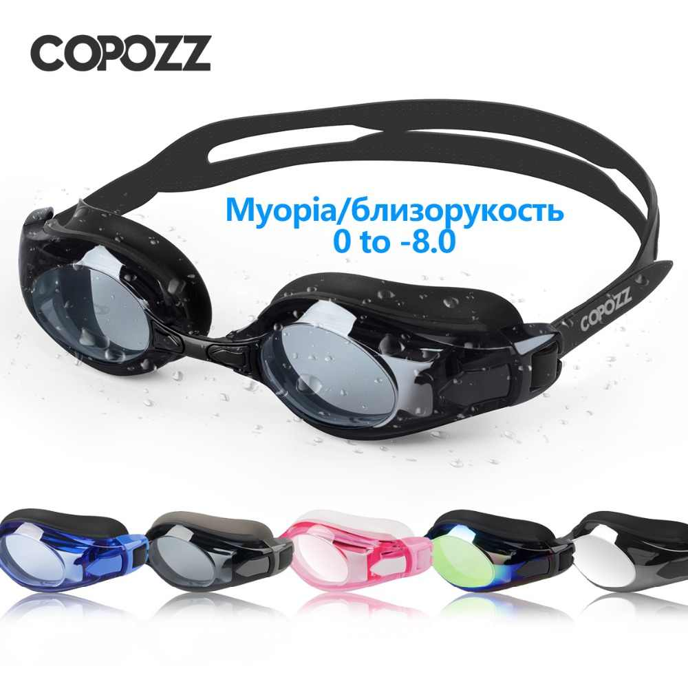COPOZZ Swimming Goggles Myopia 0 -1.5 to -5 Support Anti fog UV Protecion Swimming Glasses Diopter Adult Men Women Zwembril 2019