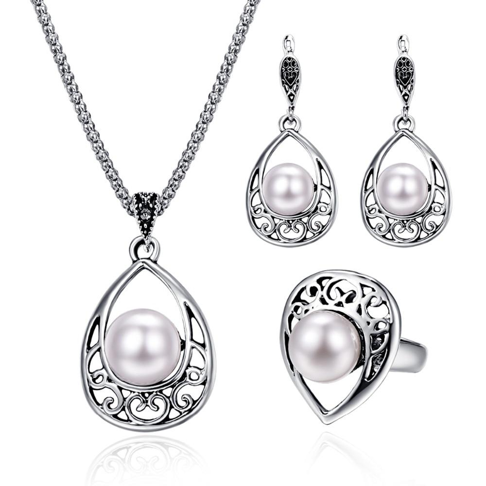Fashion Simulated Pearl Jewelry Set Vintage Water Drop Wedding Jewelry Imitation Pearl Bridal Jewelry Antique Jewelry Brida Set