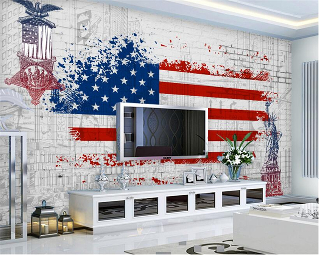 beibehang 3d behang retro amerikaanse vlag graffiti achtergrond muur woonkamer slaapkamer tv. Black Bedroom Furniture Sets. Home Design Ideas