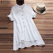 Top Blouse ZANZEA 2019 Summer Women Split Long Shirt Sexy Mini Vestido Casual Pockets Tops Blusa OL Work Blusas Baggy Plus Size
