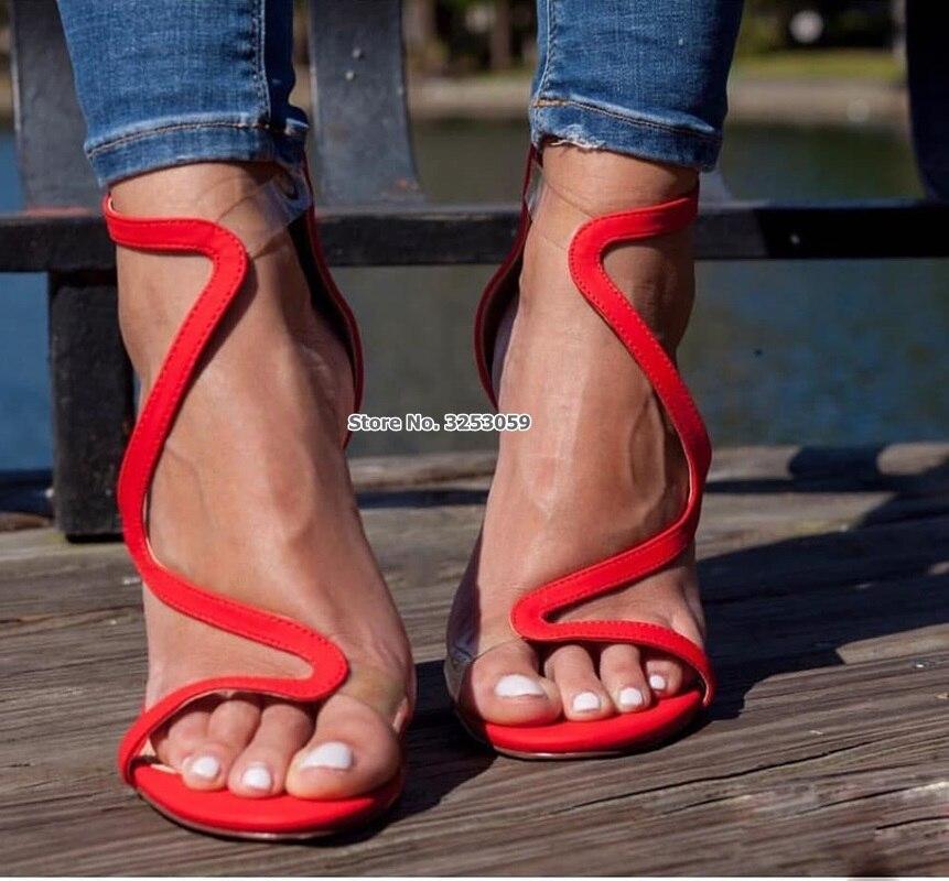 ALMUDENA Women Gorgeous Red Suede S-shape High Heel Sandals Clear PVC Strap Patchwork Dress Shoes Exquisite Wedding Shoes Pumps