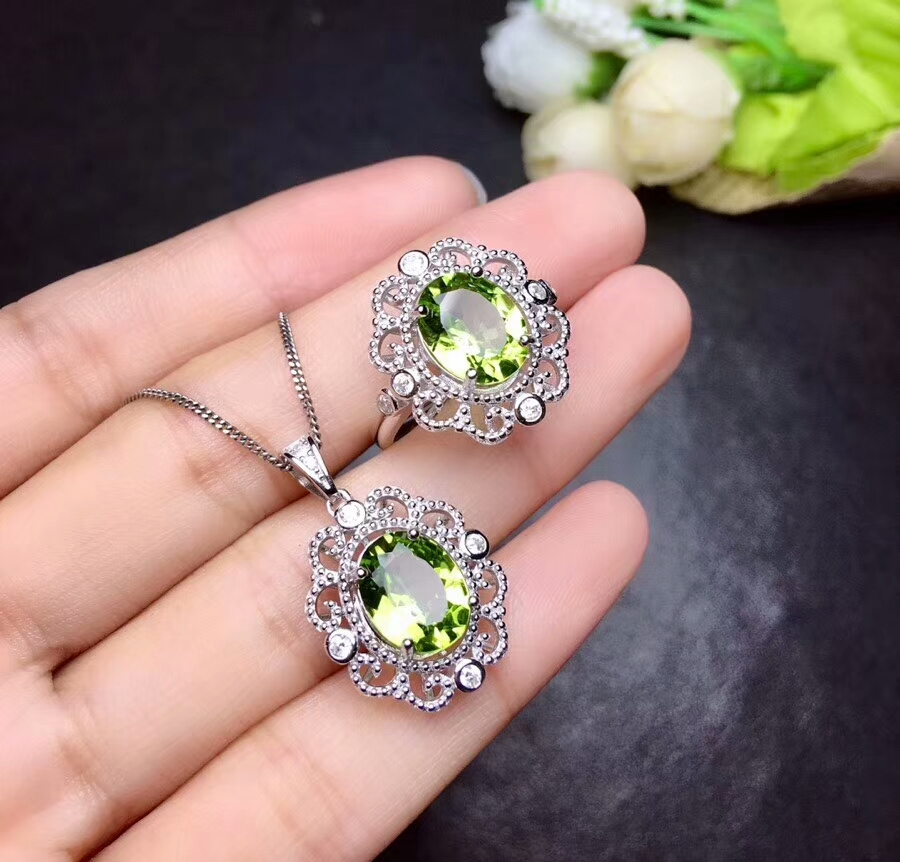 [MeiBaPJ Fashion Natural Peridot Gemstone Ring and Necklace for Women Real 925 Sterling Silver Green Stone Fine Jewelry Set mason liquid calcium 1 200 mg with d3 400 iu 60 softgels