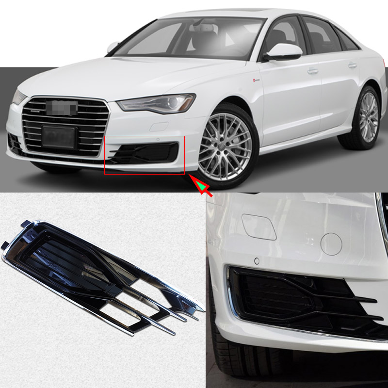 Ipoboo Black Auto Front Bumper Driving Fog Lights Cover Lamp Frame Trim For Audi A6 C7 2016-2017 for opel astra h gtc 2005 15 h11 wiring harness sockets wire connector switch 2 fog lights drl front bumper 5d lens led lamp
